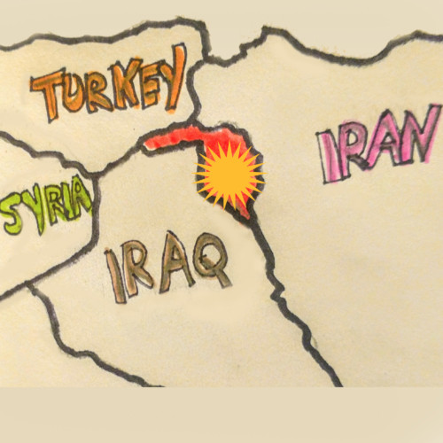 "From: Here - Surrounded -  ""Look at the map!"" There's little Kurdistan, surrounded by Iraq from which it wanted to secede, Turkey, whose dictator President is waging war against all the Kurds he can hurt; and Iran, the punisher next door."